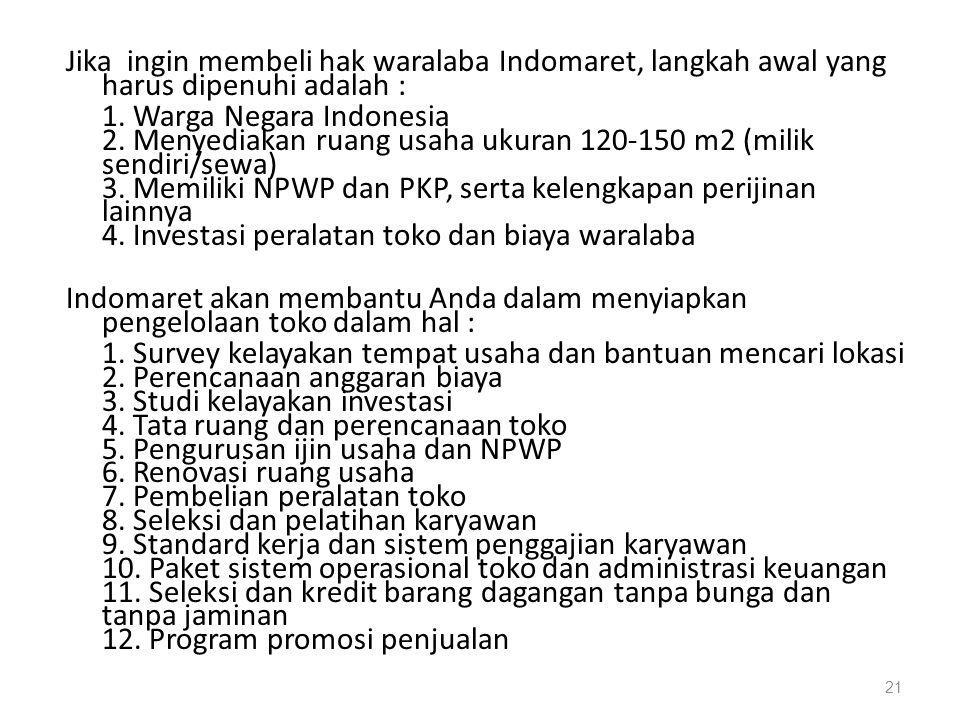 Jika ingin membeli hak waralaba Indomaret, langkah awal yang harus dipenuhi adalah : 1. Warga Negara Indonesia 2. Menyediakan ruang usaha ukuran 120-1
