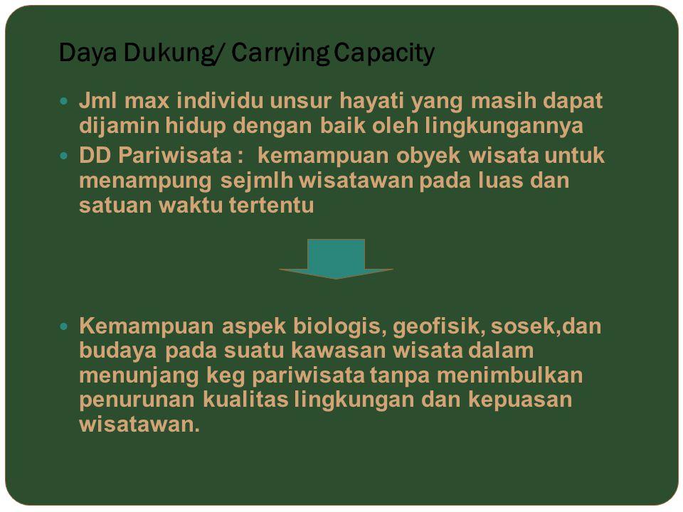 Daya Dukung/ Carrying Capacity Jml max individu unsur hayati yang masih dapat dijamin hidup dengan baik oleh lingkungannya DD Pariwisata : kemampuan o