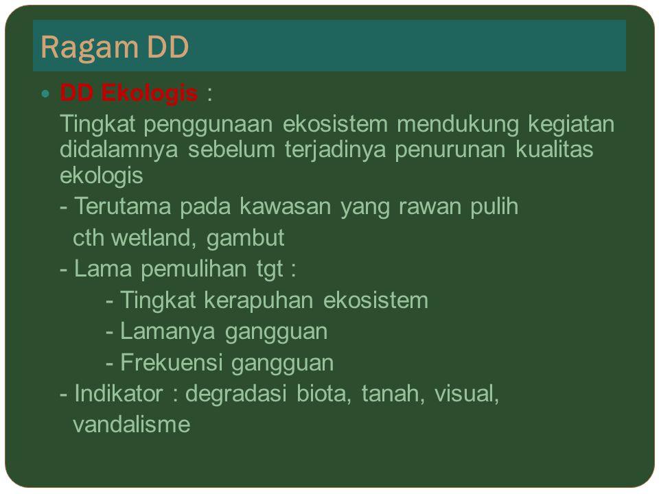 Ragam DD DD Ekologis : Tingkat penggunaan ekosistem mendukung kegiatan didalamnya sebelum terjadinya penurunan kualitas ekologis - Terutama pada kawas