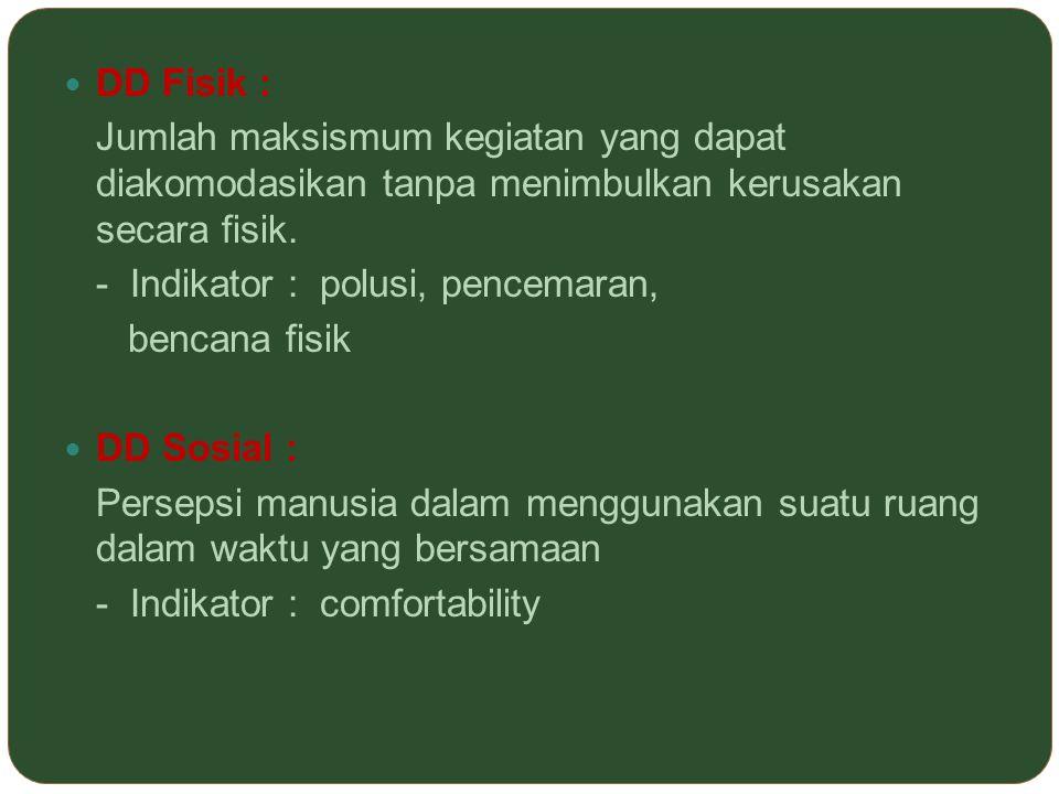 DD Fisik : Jumlah maksismum kegiatan yang dapat diakomodasikan tanpa menimbulkan kerusakan secara fisik. - Indikator : polusi, pencemaran, bencana fis