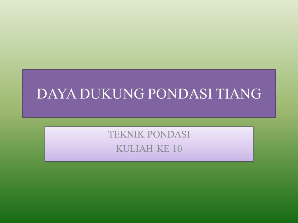 PERHITUNGAN PONDASI Daya Dukung Aksial Pile Daya Dukung Lateral Pile Analisis Group Pile