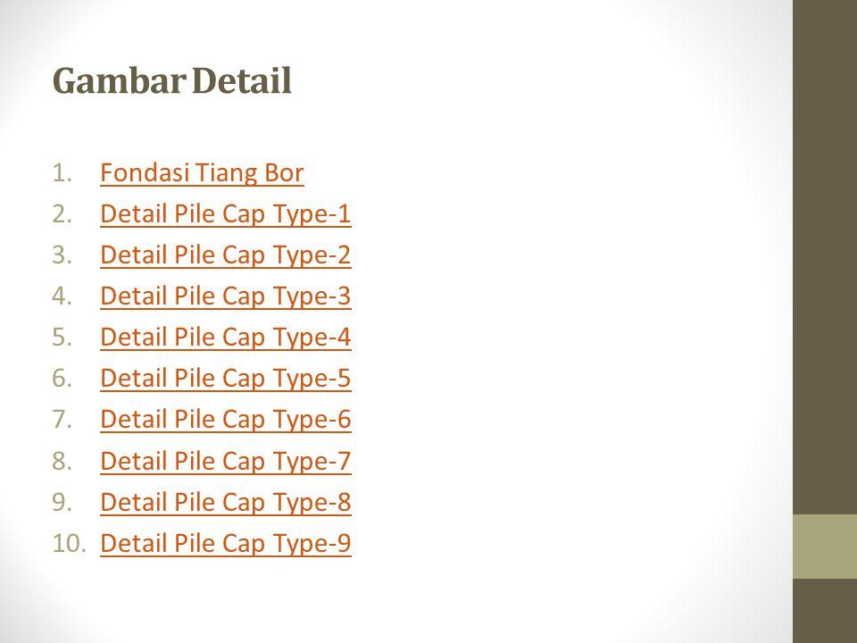 Gambar Detail 1.Fondasi Tiang BorFondasi Tiang Bor 2.Detail Pile Cap Type-1Detail Pile Cap Type-1 3.Detail Pile Cap Type-2Detail Pile Cap Type-2 4.Det