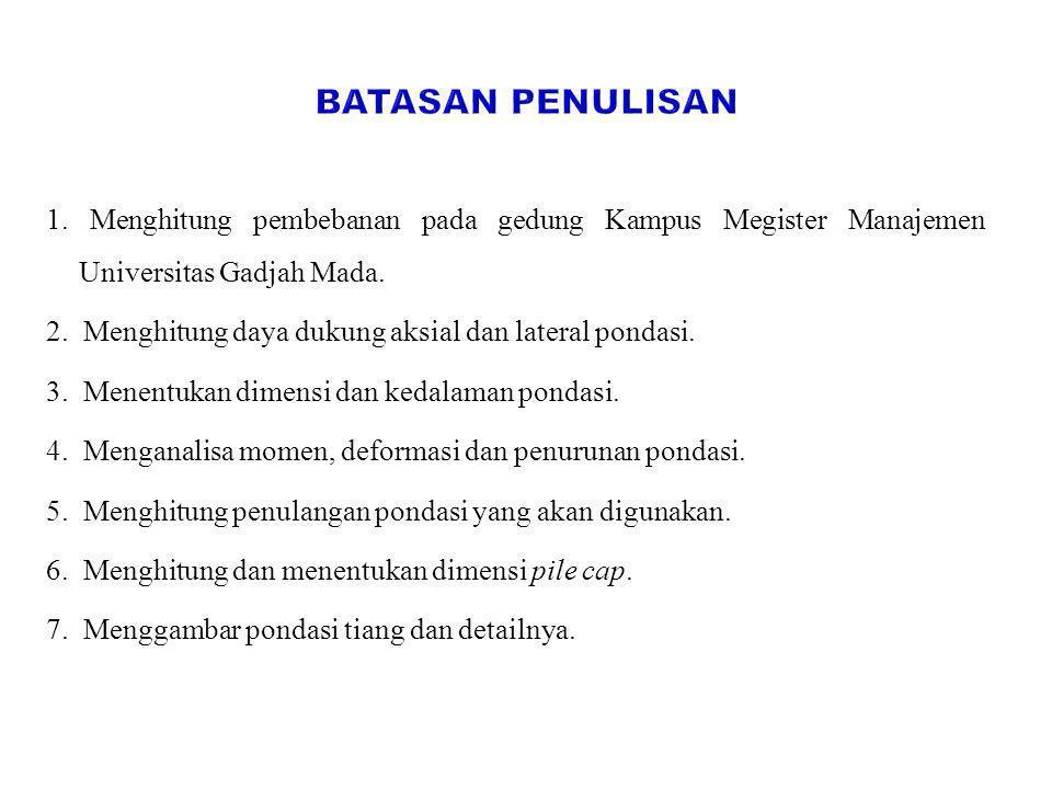1. Menghitung pembebanan pada gedung Kampus Megister Manajemen Universitas Gadjah Mada. 2. Menghitung daya dukung aksial dan lateral pondasi. 3. Menen