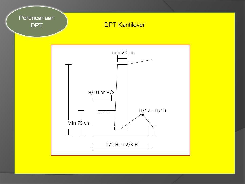 Sec DPT Kantilever Perencanaan DPT Min 75 cm min 20 cm H/10 or H/8 H/12 – H/10 2/5 H or 2/3 H
