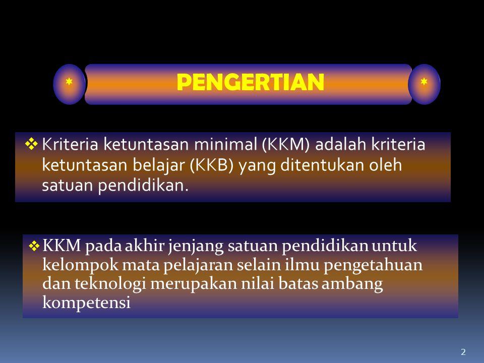 2  Kriteria ketuntasan minimal (KKM) adalah kriteria ketuntasan belajar (KKB) yang ditentukan oleh satuan pendidikan. * PENGERTIAN *  KKM pada akhir