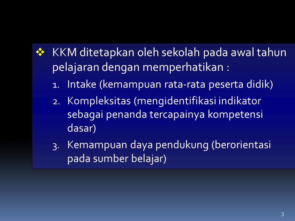 3  KKM ditetapkan oleh sekolah pada awal tahun pelajaran dengan memperhatikan : 1. Intake (kemampuan rata-rata peserta didik) 2. Kompleksitas (mengid