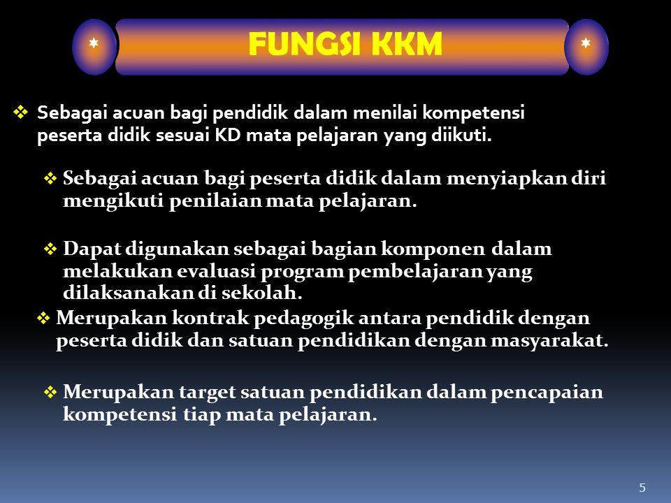 5  Sebagai acuan bagi pendidik dalam menilai kompetensi peserta didik sesuai KD mata pelajaran yang diikuti. * FUNGSI KKM *  Sebagai acuan bagi pese