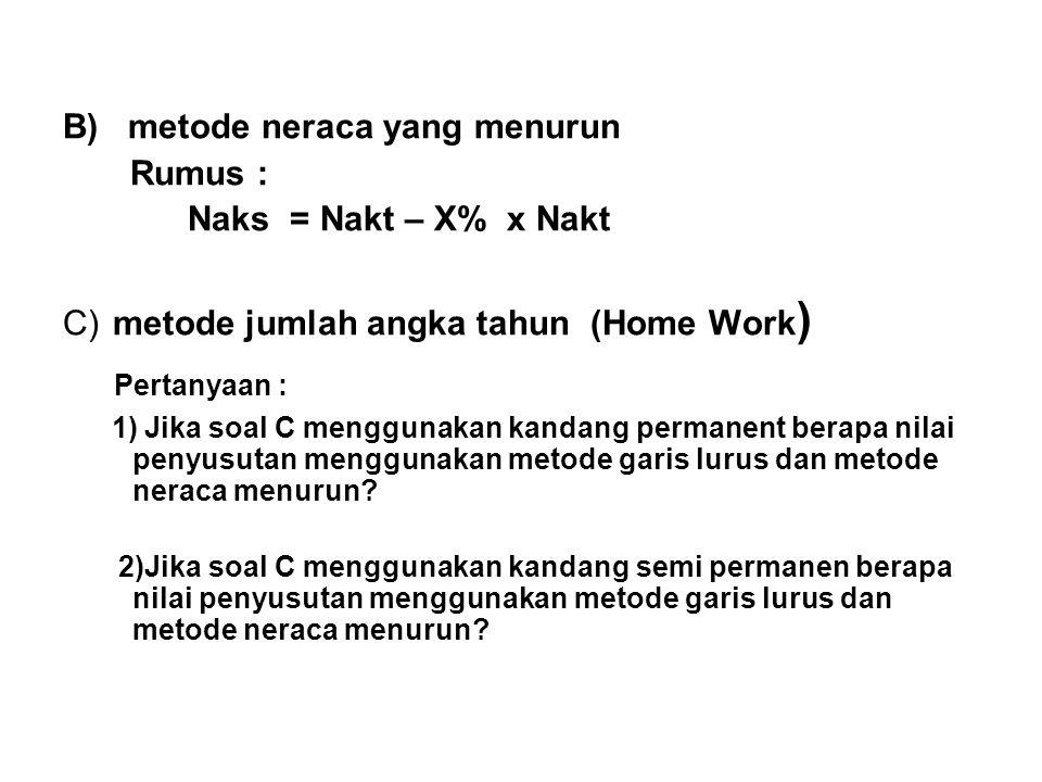 B) metode neraca yang menurun Rumus : Naks = Nakt – X% x Nakt C) metode jumlah angka tahun (Home Work ) Pertanyaan : 1) Jika soal C menggunakan kandan