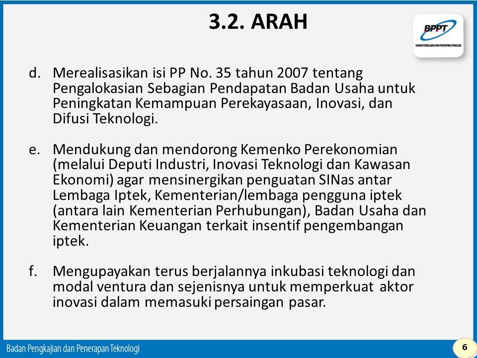 d.Merealisasikan isi PP No. 35 tahun 2007 tentang Pengalokasian Sebagian Pendapatan Badan Usaha untuk Peningkatan Kemampuan Perekayasaan, Inovasi, dan