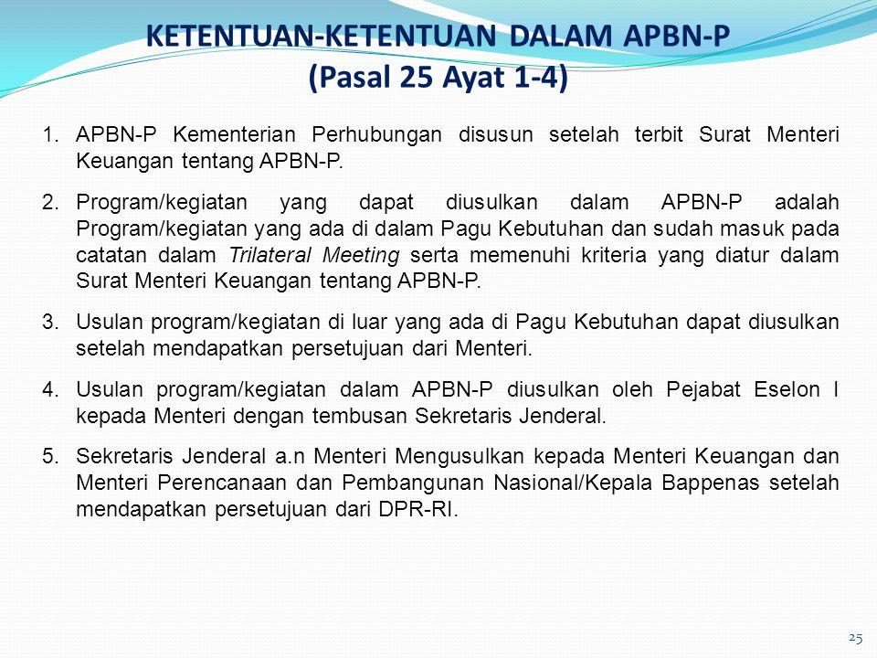 KETENTUAN-KETENTUAN DALAM APBN-P (Pasal 25 Ayat 1-4) 1. APBN-P Kementerian Perhubungan disusun setelah terbit Surat Menteri Keuangan tentang APBN-P. 2