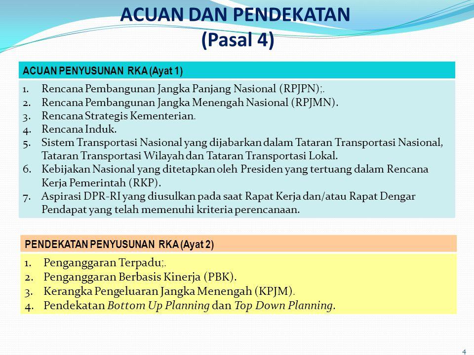 ACUAN DAN PENDEKATAN (Pasal 4) 4 ACUAN PENYUSUNAN RKA (Ayat 1) 1.Rencana Pembangunan Jangka Panjang Nasional (RPJPN) ;. 2.Rencana Pembangunan Jangka M