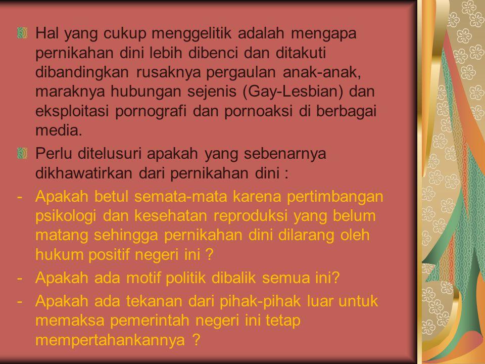 Kampanye Generasi Berencana (Genre) membatasi kelahiran mendewasakan usia pernikahan dan memberikan pandangan negatif terhadap pernikahan di usia muda