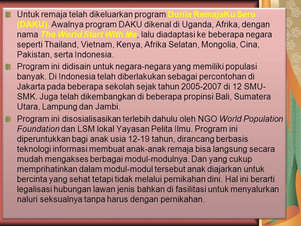 Di Indonesia telah dibuat program-program yang mendukung upaya kontrol populasi untuk berbagai komunitas yang dikomandoi BKKBN dan LSM lokal, nasional