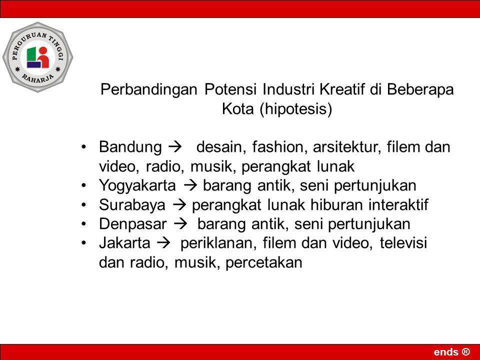 ends ® Perbandingan Potensi Industri Kreatif di Beberapa Kota (hipotesis) Bandung  desain, fashion, arsitektur, filem dan video, radio, musik, perang