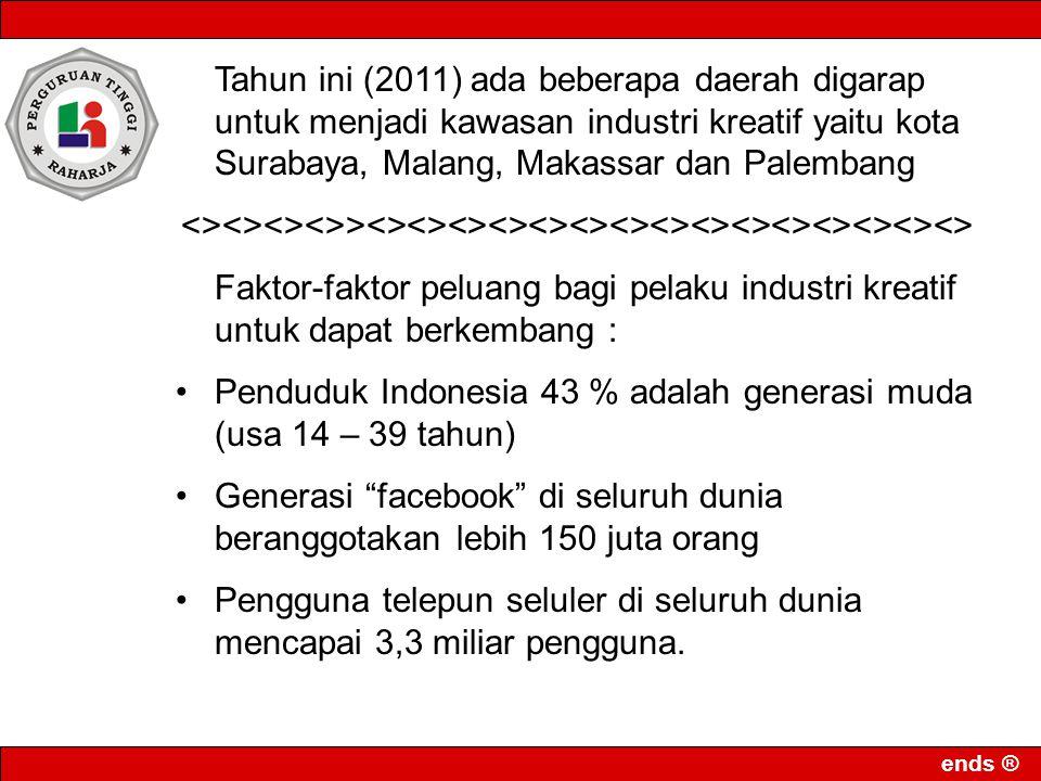 ends ® Tahun ini (2011) ada beberapa daerah digarap untuk menjadi kawasan industri kreatif yaitu kota Surabaya, Malang, Makassar dan Palembang <><><><
