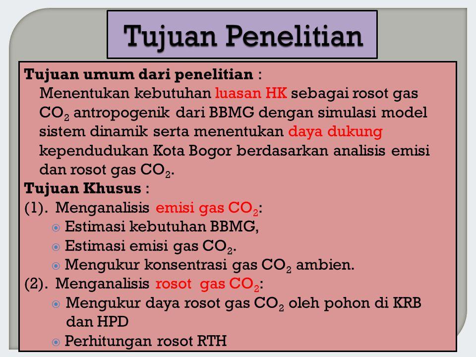 Tujuan umum dari penelitian : Menentukan kebutuhan luasan HK sebagai rosot gas CO 2 antropogenik dari BBMG dengan simulasi model sistem dinamik serta menentukan daya dukung kependudukan Kota Bogor berdasarkan analisis emisi dan rosot gas CO 2.