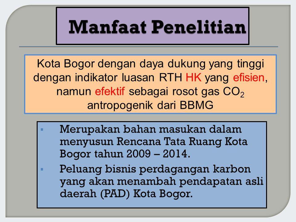  Merupakan bahan masukan dalam menyusun Rencana Tata Ruang Kota Bogor tahun 2009 – 2014.