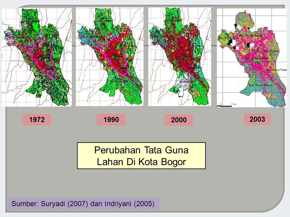 2000 19901972 Perubahan Tata Guna Lahan Di Kota Bogor 2003 Sumber: Suryadi (2007) dan Indriyani (2005)