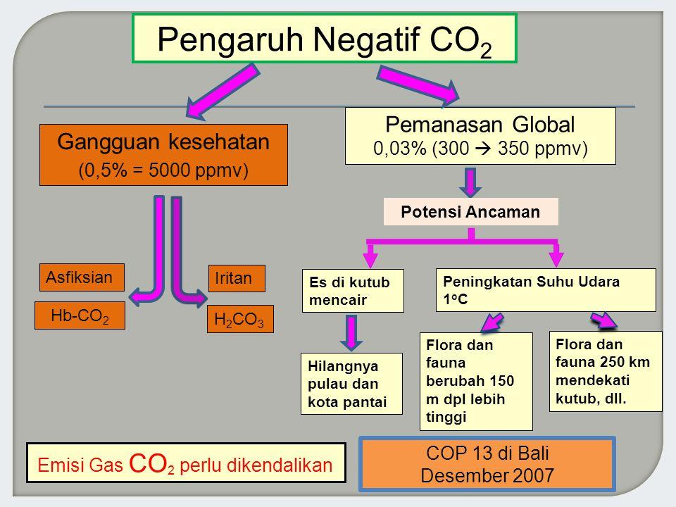 Gangguan kesehatan (0,5% = 5000 ppmv) Pemanasan Global 0,03% (300  350 ppmv) Hb-CO 2 H 2 CO 3 Hilangnya pulau dan kota pantai Flora dan fauna berubah