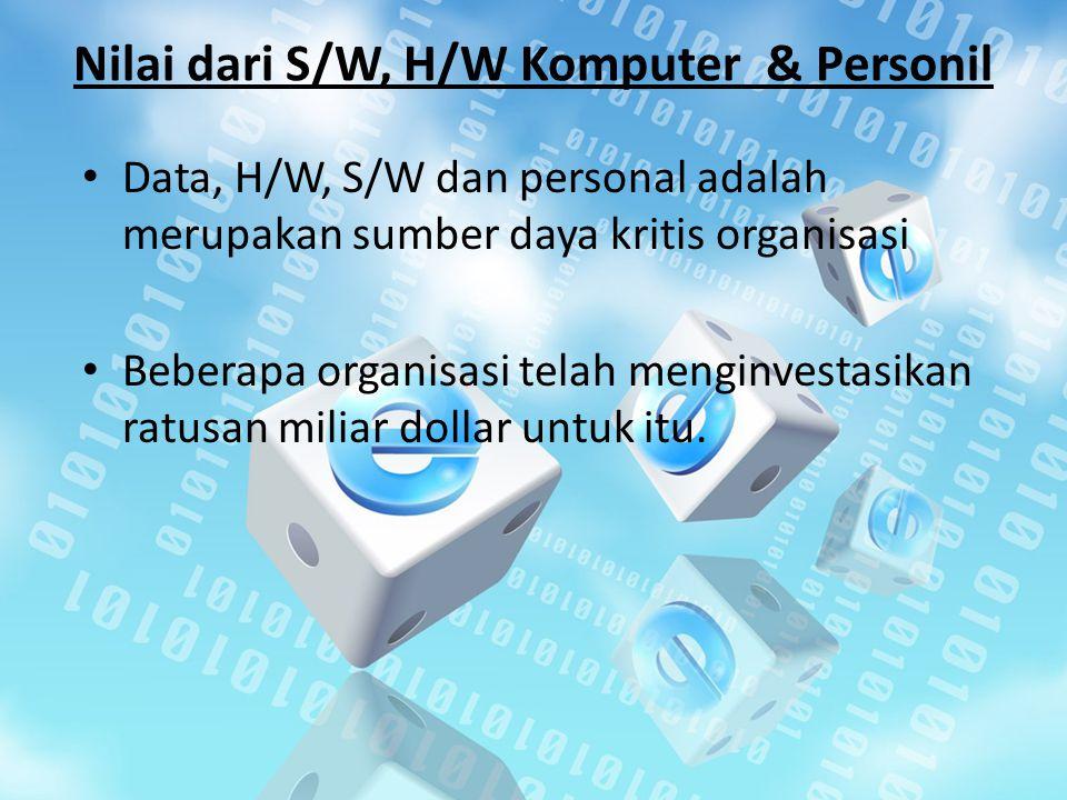 Nilai dari S/W, H/W Komputer & Personil Data, H/W, S/W dan personal adalah merupakan sumber daya kritis organisasi Beberapa organisasi telah menginves
