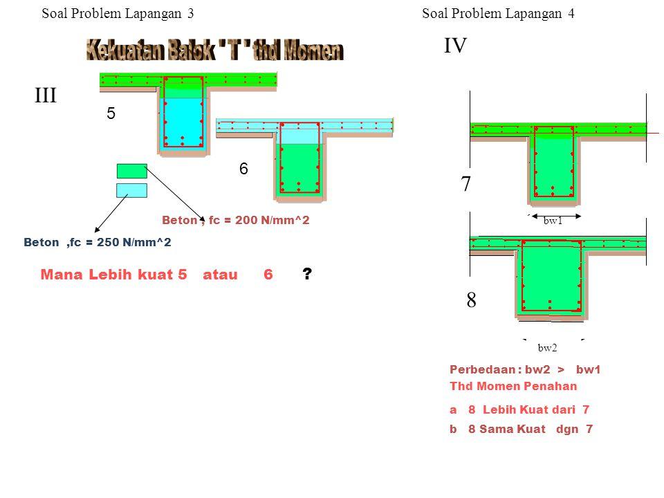 Perbedaan : bw2 > bw1 a B Lebih Kuat dari A b A Sama Kuat dgn B V VI Thd.