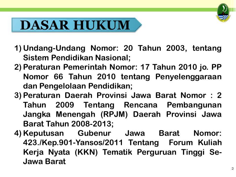 2 DASAR HUKUM 1)Undang-Undang Nomor: 20 Tahun 2003, tentang Sistem Pendidikan Nasional; 2)Peraturan Pemerintah Nomor: 17 Tahun 2010 jo. PP Nomor 66 Ta