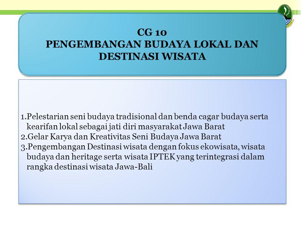 1.Pelestarian seni budaya tradisional dan benda cagar budaya serta kearifan lokal sebagai jati diri masyarakat Jawa Barat 2.Gelar Karya dan Kreativita