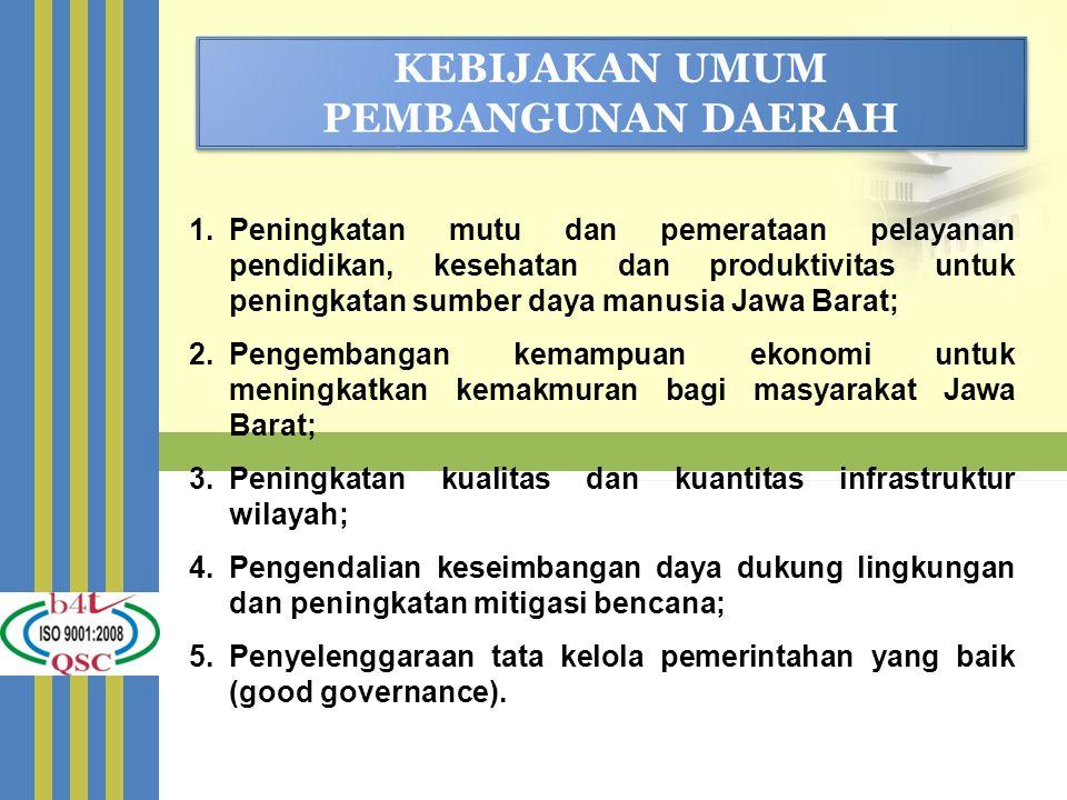 KEBIJAKAN UMUM PEMBANGUNAN DAERAH 1.Peningkatan mutu dan pemerataan pelayanan pendidikan, kesehatan dan produktivitas untuk peningkatan sumber daya ma