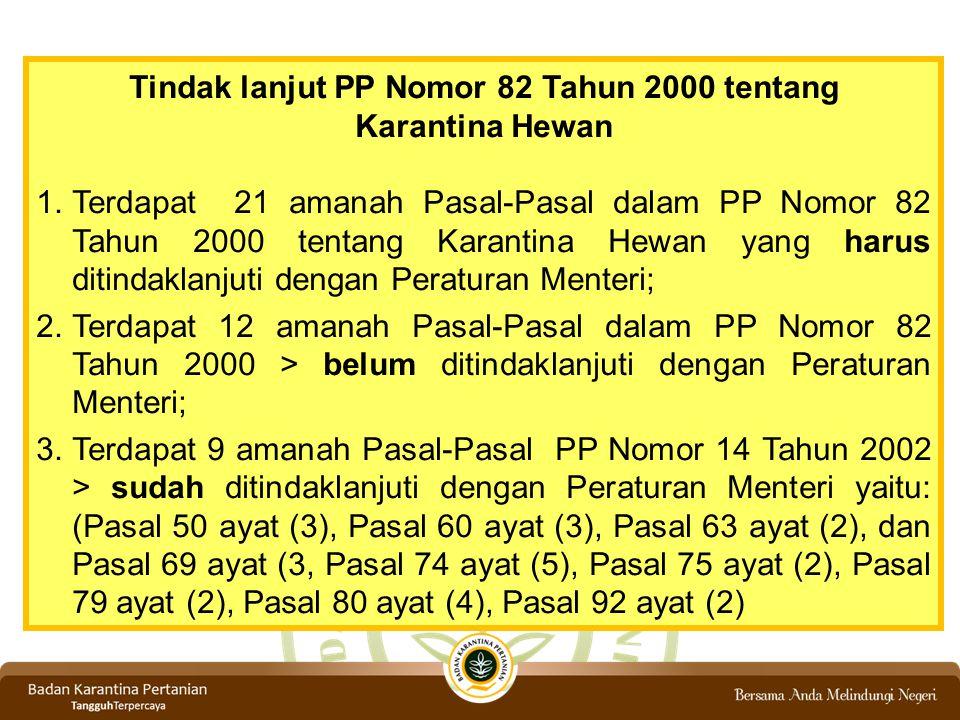 Tindak lanjut PP Nomor 82 Tahun 2000 tentang Karantina Hewan 1.Terdapat 21 amanah Pasal-Pasal dalam PP Nomor 82 Tahun 2000 tentang Karantina Hewan yan