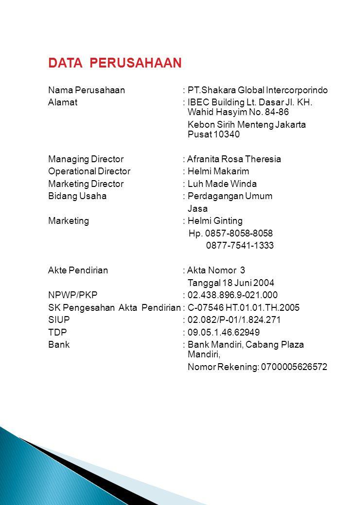DATA PERUSAHAAN Nama Perusahaan: PT.Shakara Global Intercorporindo Alamat : IBEC Building Lt. Dasar Jl. KH. Wahid Hasyim No. 84-86 Kebon Sirih Menteng