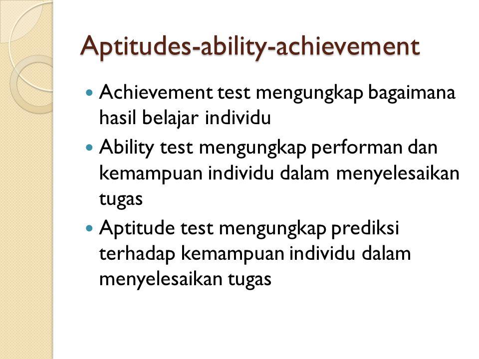 Aptitudes-ability-achievement Achievement test mengungkap bagaimana hasil belajar individu Ability test mengungkap performan dan kemampuan individu da