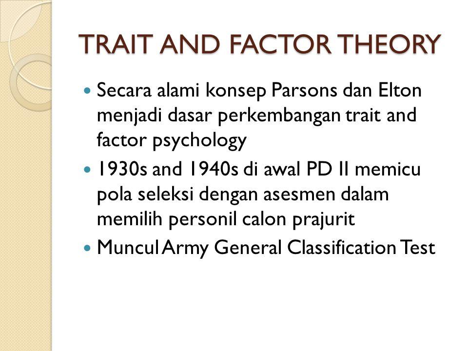 TRAIT AND FACTOR THEORY Secara alami konsep Parsons dan Elton menjadi dasar perkembangan trait and factor psychology 1930s and 1940s di awal PD II mem