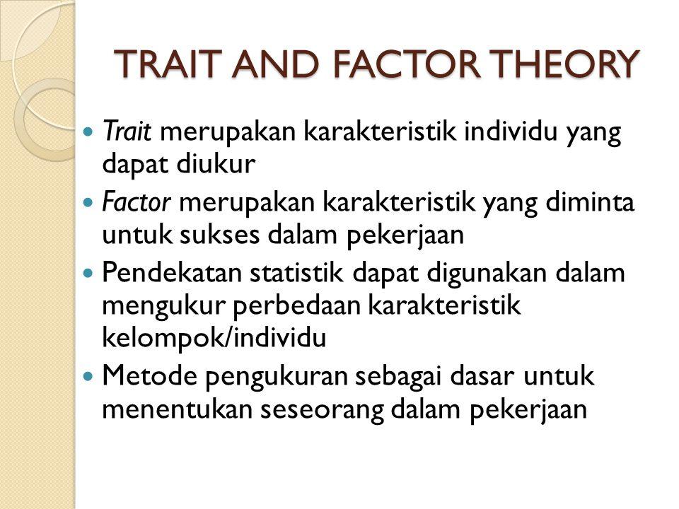 TRAIT AND FACTOR THEORY Trait merupakan karakteristik individu yang dapat diukur Factor merupakan karakteristik yang diminta untuk sukses dalam pekerj