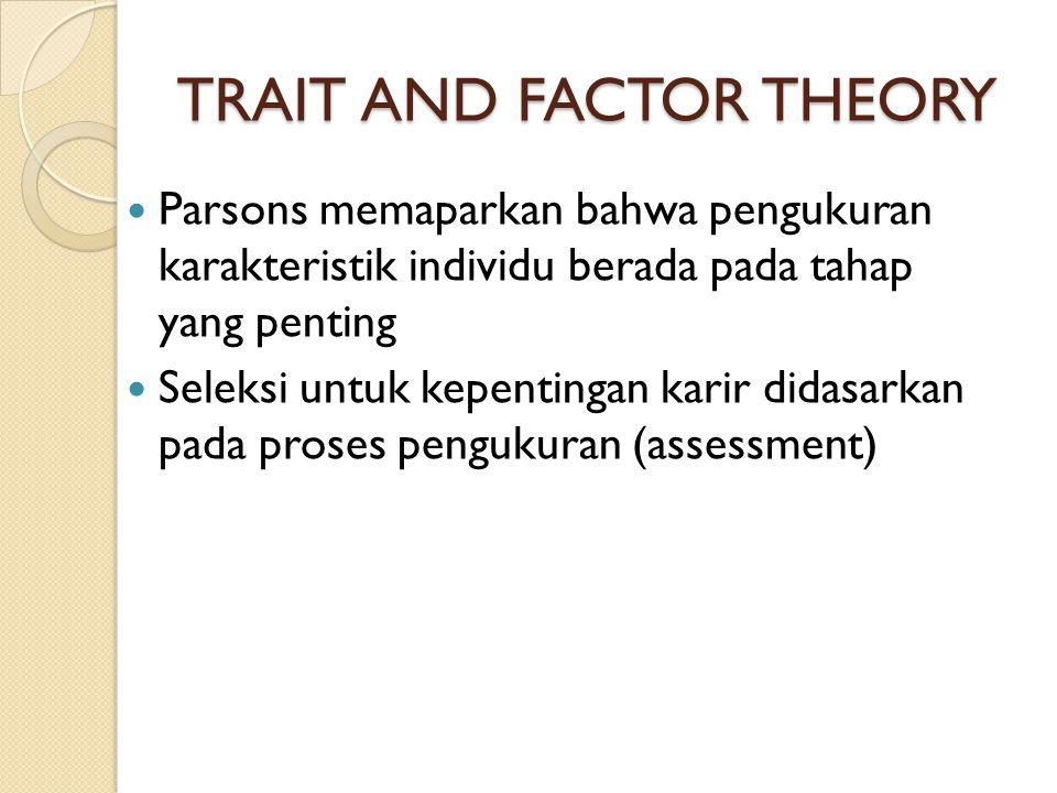 TRAIT AND FACTOR THEORY Parsons memaparkan bahwa pengukuran karakteristik individu berada pada tahap yang penting Seleksi untuk kepentingan karir dida