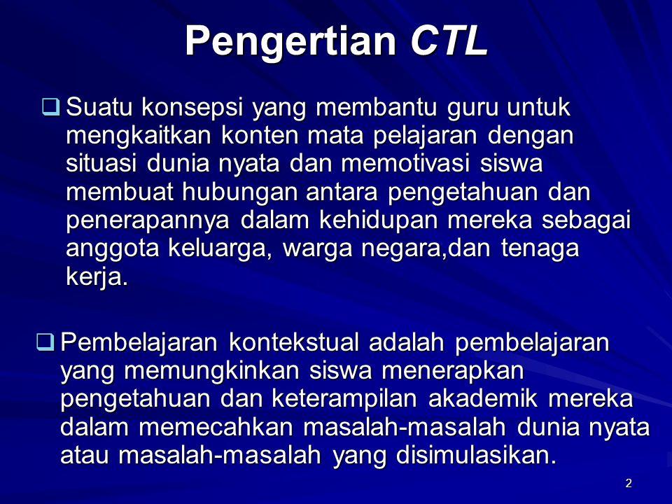 2 Pengertian CTL  Suatu konsepsi yang membantu guru untuk mengkaitkan konten mata pelajaran dengan situasi dunia nyata dan memotivasi siswa membuat h