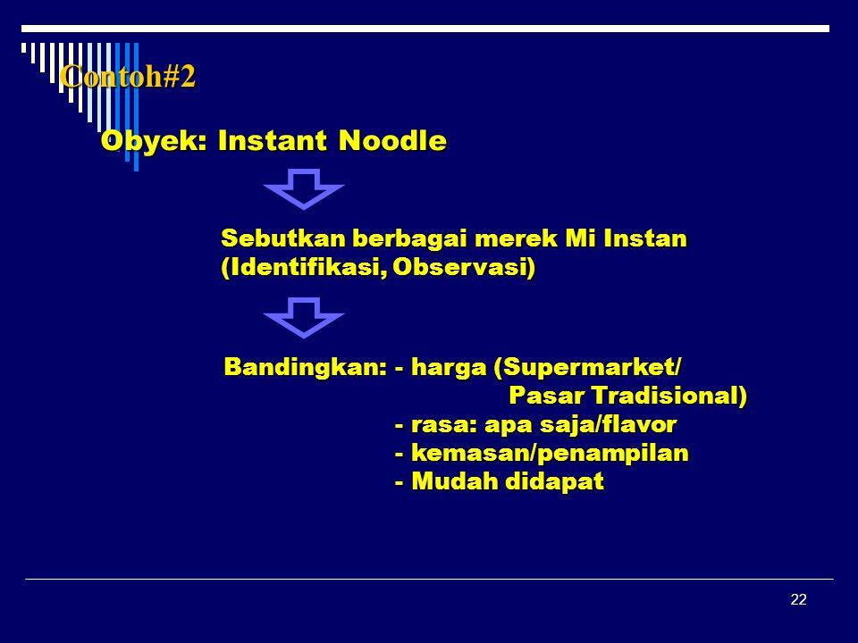 22 Contoh#2 Obyek: Instant Noodle Sebutkan berbagai merek Mi Instan (Identifikasi, Observasi) Bandingkan: - harga (Supermarket/ Pasar Tradisional) - r