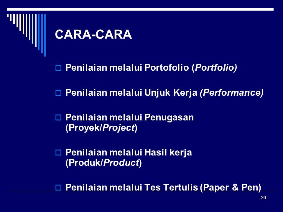 39 CARA-CARA  Penilaian melalui Portofolio (Portfolio)  Penilaian melalui Unjuk Kerja (Performance)  Penilaian melalui Penugasan (Proyek/Project) 
