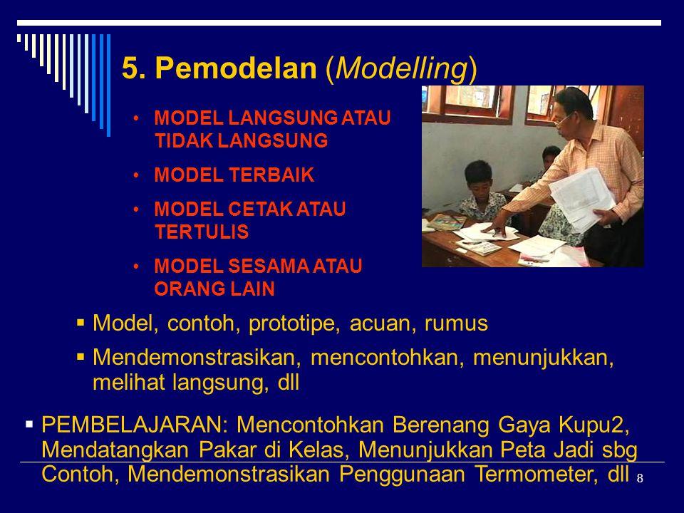 8 5. Pemodelan (Modelling)  Model, contoh, prototipe, acuan, rumus  Mendemonstrasikan, mencontohkan, menunjukkan, melihat langsung, dll  PEMBELAJAR