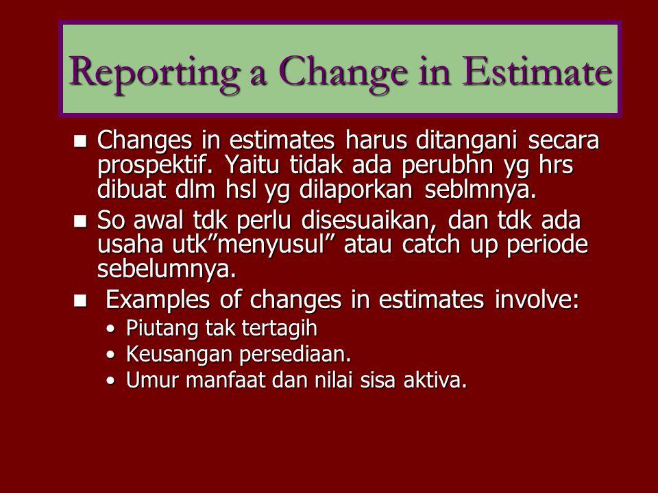 Changes in estimates harus ditangani secara prospektif. Yaitu tidak ada perubhn yg hrs dibuat dlm hsl yg dilaporkan seblmnya. Changes in estimates har