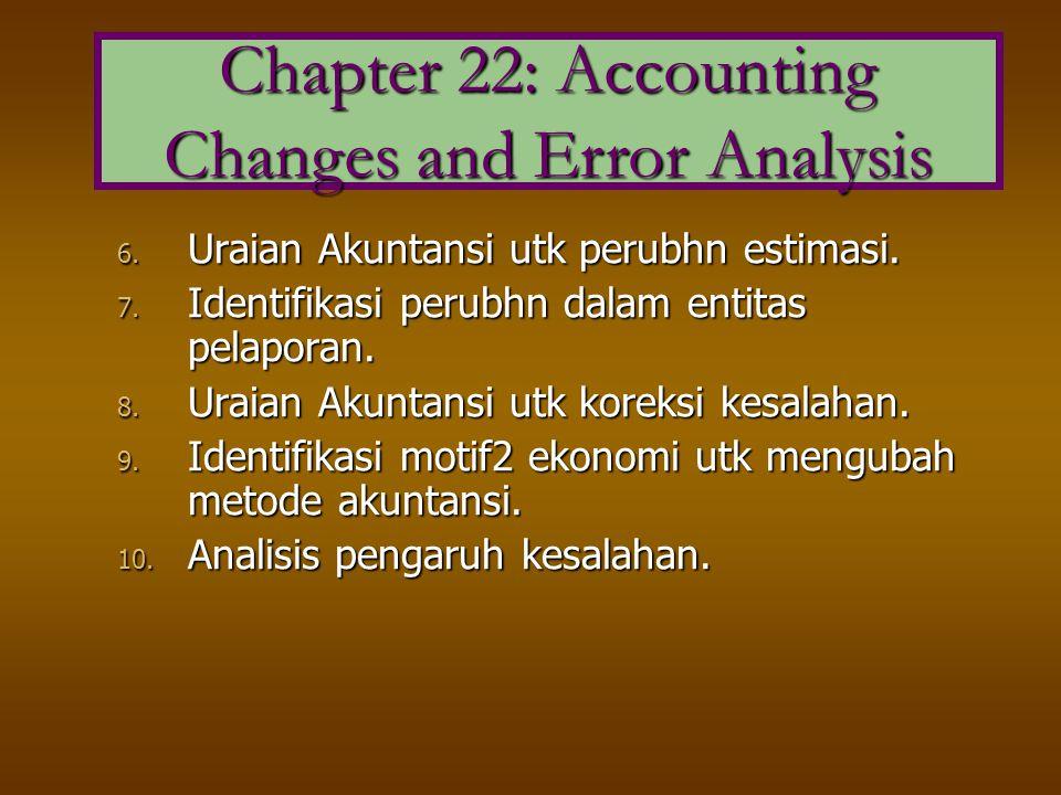6. Uraian Akuntansi utk perubhn estimasi. 7. Identifikasi perubhn dalam entitas pelaporan. 8. Uraian Akuntansi utk koreksi kesalahan. 9. Identifikasi