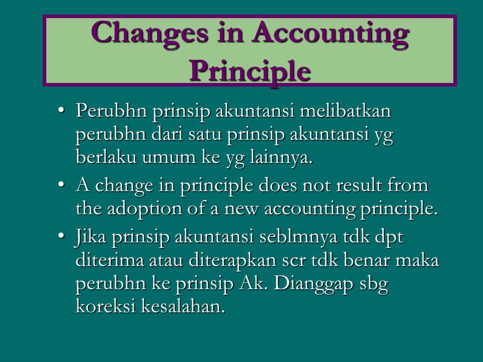 Perubhn prinsip akuntansi melibatkan perubhn dari satu prinsip akuntansi yg berlaku umum ke yg lainnya.Perubhn prinsip akuntansi melibatkan perubhn da