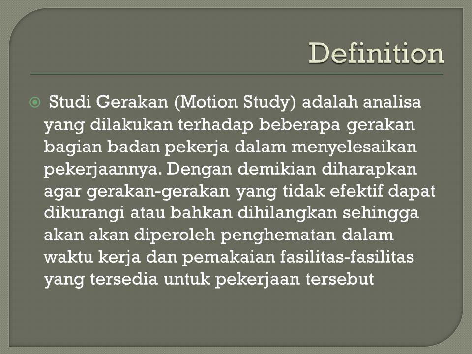  Studi Gerakan (Motion Study) adalah analisa yang dilakukan terhadap beberapa gerakan bagian badan pekerja dalam menyelesaikan pekerjaannya. Dengan d