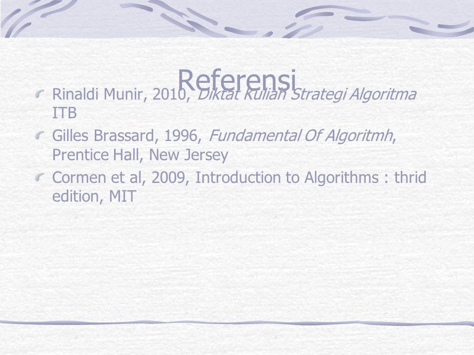 Referensi Rinaldi Munir, 2010, Diktat Kuliah Strategi Algoritma ITB Gilles Brassard, 1996, Fundamental Of Algoritmh, Prentice Hall, New Jersey Cormen