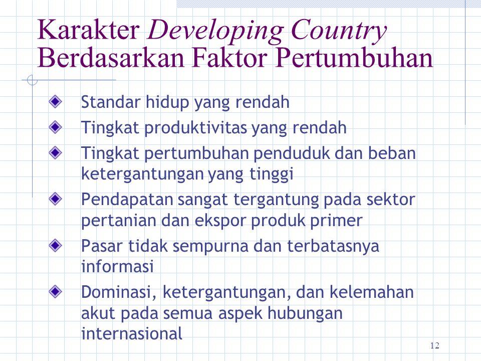 12 Karakter Developing Country Berdasarkan Faktor Pertumbuhan Standar hidup yang rendah Tingkat produktivitas yang rendah Tingkat pertumbuhan penduduk
