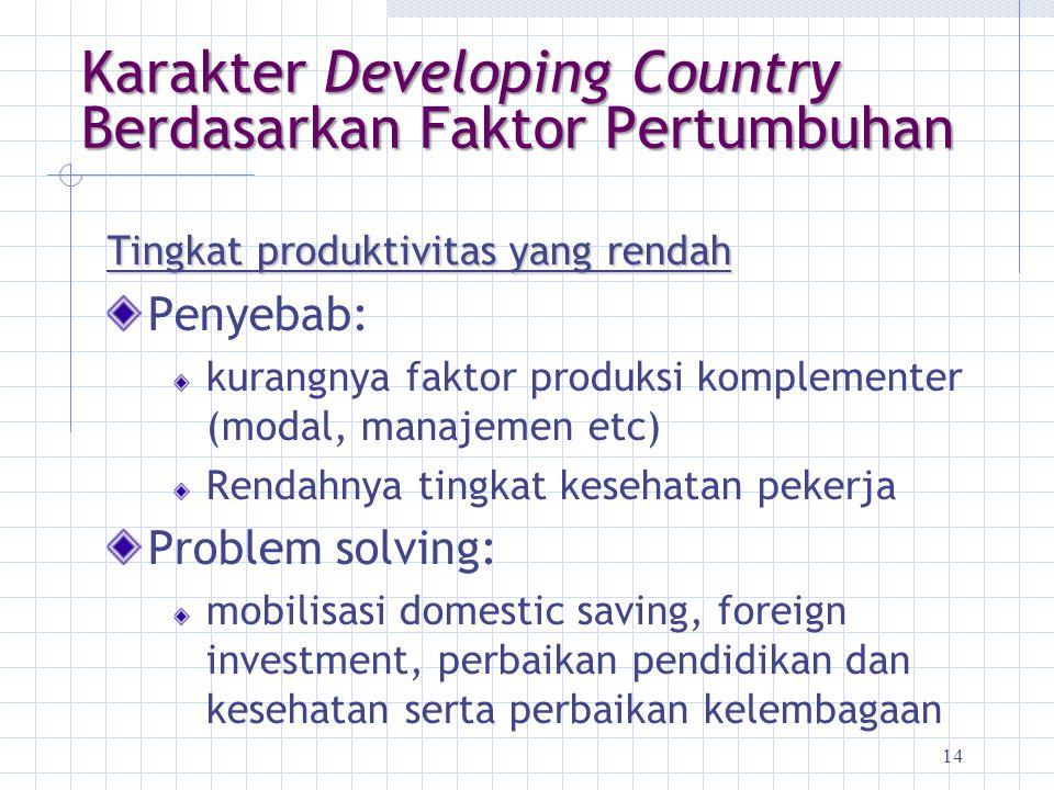 14 Karakter Developing Country Berdasarkan Faktor Pertumbuhan Tingkat produktivitas yang rendah Penyebab: kurangnya faktor produksi komplementer (moda