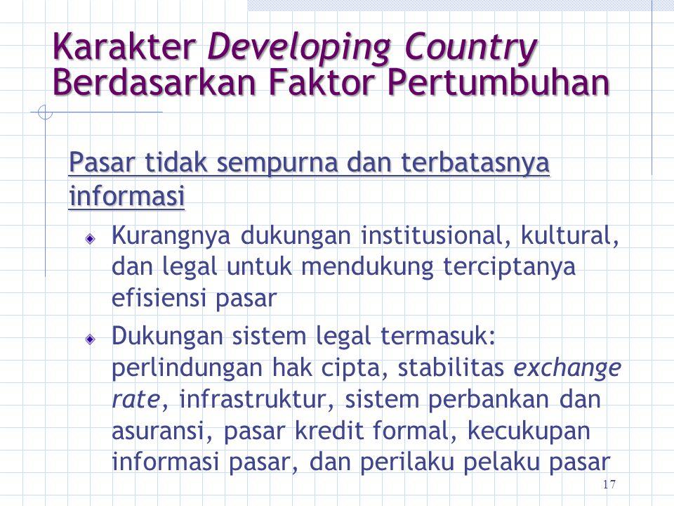 17 Karakter Developing Country Berdasarkan Faktor Pertumbuhan Pasar tidak sempurna dan terbatasnya informasi Kurangnya dukungan institusional, kultura