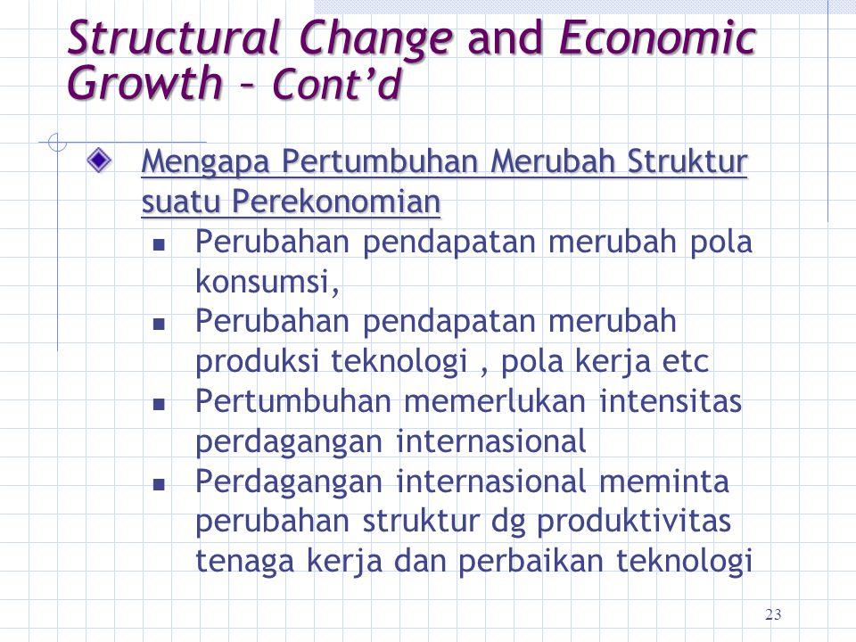 23 Mengapa Pertumbuhan Merubah Struktur suatu Perekonomian Perubahan pendapatan merubah pola konsumsi, Perubahan pendapatan merubah produksi teknologi
