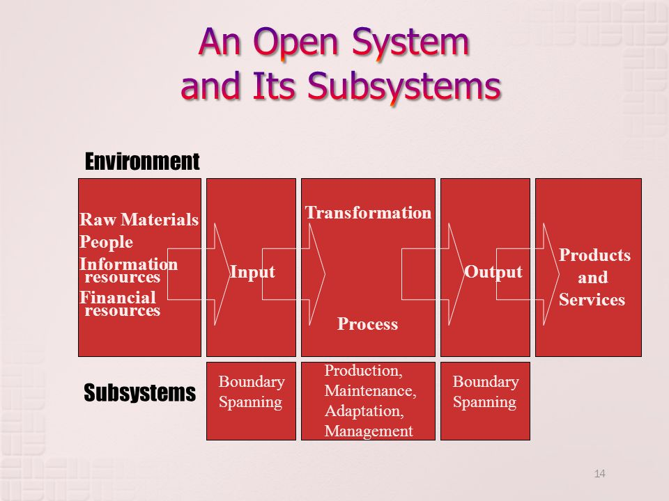 14 Transformation Process Environment Raw Materials People Information resources Financial resources Input Subsystems Boundary Spanning Production, Maintenance, Adaptation, Management Boundary Spanning Products and Services Output