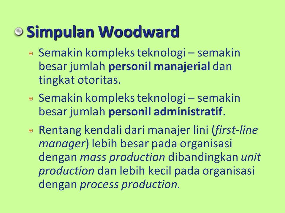 Simpulan Woodward Semakin kompleks teknologi – semakin besar jumlah personil manajerial dan tingkat otoritas. Semakin kompleks teknologi – semakin bes