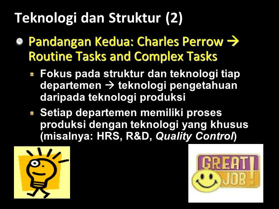 Teknologi dan Struktur (2) Pandangan Kedua: Charles Perrow  Routine Tasks and Complex Tasks Fokus pada struktur dan teknologi tiap departemen  teknologi pengetahuan daripada teknologi produksi Setiap departemen memiliki proses produksi dengan teknologi yang khusus (misalnya: HRS, R&D, Quality Control)